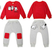 SOPO Toddler Girl Boy Outfits Fluff Inside Thicken Warm Suit Red 5t
