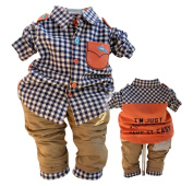 SOPO Baby Boy 2 Piece Outfits (Long Sleeve Plaid Shirt, Pants) Blue 12m