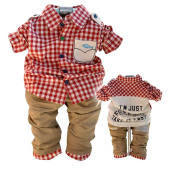 SOPO Baby Boy 2 Piece Outfits (Long Sleeve Plaid Shirt, Pants) Red 18m