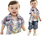 SOPO Baby Boy 3 Piece Outfits (Summer Letter Shirt, Vest, Shorts) Red 24m