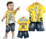 SOPO Baby Boy 3 Piece Outfits (Summer Shirt, Vest, Denim Shorts) Yellow 18m
