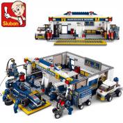 Sluban Blocks Formula One Racing Fi Car Repair Station 74/set M38-b0356 Children's Enlightenment Educational Assembly Toys
