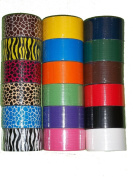 18 Roll Variety Pack of Print and Solid Colours (brights and regular colours) of All Purpose Duct Tape. Brights Include