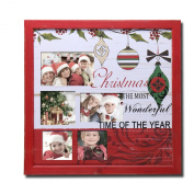 Adeco 5-Opening 4x 6, 4x 4, 8.9cm x 13cm Photos Christmas Holiday Photo Frame Picture Collage for Wall Hanging- Home Decor