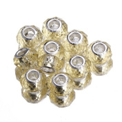 EOZY 20pcs Gold 9*14mm Faceted Crystal Double Cores Bling Faceted Crystal Glass Jewellery Silver Plated Murano European Spacer Loose Beads for Bracelet Necklace