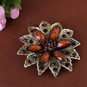 distintive & stylish BUYINHOUSE New Stylish Ladies Girls Antique Brass Plated Flashing Red and Brown Rhinestones Crystals Flower Petals Leaves Brooches Pin Clips