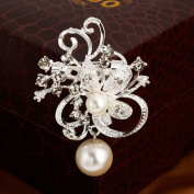 distintive & stylish BUYINHOUSE New Fahion Style Ladies Girls Brooches Silver Plated Flashing Rhinestones Crystals Pearls Flower Brooches Pin Clips