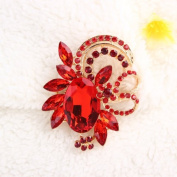 distintive & stylish BUYINHOUSE Brooches Golden Plated Flashing Red Rhinestones Crystals Pearls Flower Leaves Brooches Pin Clips