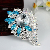distintive & stylish BUYINHOUSE New Stylish Ladies Girls Silver Plated Flashing Light Blue Rhinestones Crystals Flower Petals Leaves Brooches Pin Clips