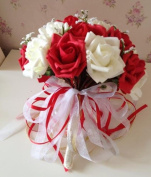 Qishi's 30 Pcs of Rose Artificial Red & white Bouquet-bridal Wedding Bouquet with Wedding Veil