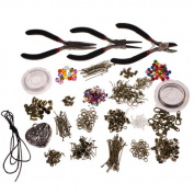 1000 piece deluxe large jewellery making starter kit- pliers, findings, beads, cord, tiger tail, bronze-plated accessories by Kurtzy TM