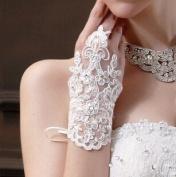 CIMC LLC Fingerless Bridal Short Lacework Diamond Lace Embroidered Wedding Gloves,White