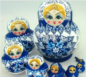 10pcs Russian Nesting Doll Handmade Wooden Doll,blue and White Porcelain
