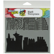 Crafters Workshop Template, 15cm by 15cm , Skyline