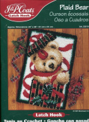 J. & P. Coats Latch Hook Rug Kit ~ Christmas Plaid Bear