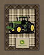 John Deere Plaid No Sew Fleece Throw Kit, Brown
