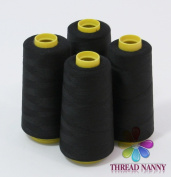 4 Large Cones (3000 yards each) of Polyester threads for Sewing Quilting Serger BLACK Colour from ThreadNanny