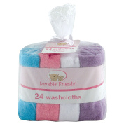Luvable Friends Washcloths, Pink, 24 Count