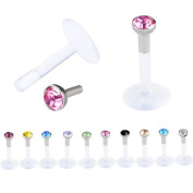 Top Plaza 10x Labret Studs/ Lip Piercing jewellery/ Acrylic Czech Crystal Gem Labret Monroe Bar Lip Tunnels for Piercing, Mix Colours
