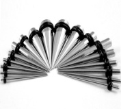 Taper Kit 18 Pieces Stainless Steel Tapers Sizes 14G,12G,10G,8G,6G,4G,2G,0G,00G Stretching Kit - 9 Pairs
