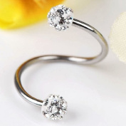 Top Plaza 2x/10x 16G Czech Crystal Eyebrow Cartilage Ear Studs/ Ear Rings, S-Type