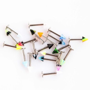 TOMTOP 20pcs Colourful Stainless Steel Cone Lip Rings Bars Labret Stud Piercing