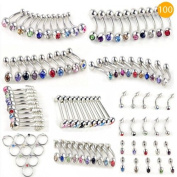 Absolute Crystal Stainless Steel Ear Eyes Lips Nose Body Ring 100pcs 10 studs styles Kit