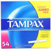 Tampax Cardboard Applicator Tampons, Regular Absorbency, 54 Count