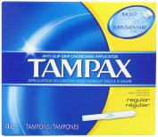 Tampax Cardboard Applicator Tampons, Regular Absorbency, 40 Count