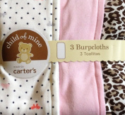 Carter's 3 Pack Burp Cloth Set of 3 Burp cloths dots bows solid Leopard Print