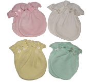 MIX Colour 4 Pairs Cotton Newborn Baby/infant No Scratch Mittens Gloves