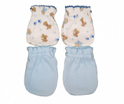 4 Pairs Cotton Newborn Baby/infant No Scratch Mittens Gloves - Little Dog + Blue