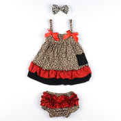 Masione Baby Toddlers Cotton Cute Hairband+ Dress+ Underpants Outfit for 0-12 Month Infant