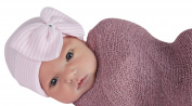 Melondipity's Pink and White Striped Nursery Big Bow Newborn Girl Hospital Hat