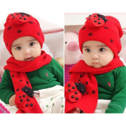 TOOGOO(R) Winter Cute Baby Infant Boy Girls Ladybug Warm Beanie Hat Cap + Scarf 2N1