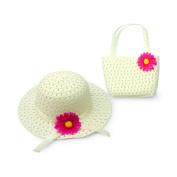 Lovely Charm Princess Straw Baby Girl Sun Hat Summer Flower Cap and Handbag