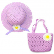 Lovely Charm Princess Straw Baby Girl Sun Hat Summer Flower Cap and Handbag - Purple