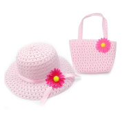 Lovely Charm Princess Straw Baby Girl Sun Hat Summer Flower Cap and Handbag