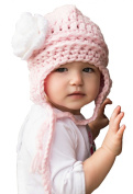 Melondipity Pink Flirty Aviator White Flower Baby and Toddler Girl Hat