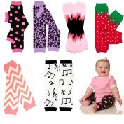 6 Pack Girls juDanzy leg warmers Pack of flames, music notes, stripes, dots, leopard, strawberry