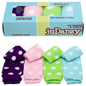 juDanzy girls polka dot 4 pack of baby leg warmers in pink aqua green & purple