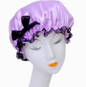 Women Waterproof Double Layer Shower Cap Elastic Band Lace Bowknot Hat Hair Bath Spa Bouffant Cap