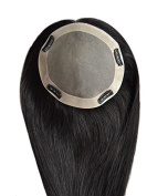 Remy Human Hair Mono Hairpiece, 5.5x6 Base Size Closure, Top Hair Piece Y-1b#, Straight