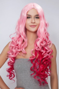 Diy Long Charming Women's Pink Deep Curly Wave Cosplay party Heat-resistance Full Hair Wigs