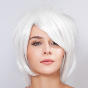 Diy Short Women's Straight White Fashion personality Fluffy Heat-resistance Full Hair Wigs