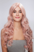 Diy Long Women's Light Pink Deep Curly Wave Western . Heat-resistance Full Hair Wigs