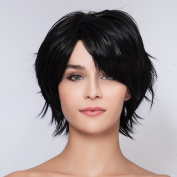 Diy Natural Women's short Dark Black Straight Fluffy Heat-resistance Full Hair Wigs
