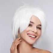 Diy Short Fluffy Straight Women's White Fashin High Quatlity Heat-resistance Full Hair Wigs