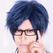 Free! Rei Ryugazaki Dark Blue Short Anime Cosplay Wig + Free Wig Cap