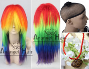 Free Hair Cap + for Kids for Adults Free Hair Cap+my Little Pony Rainbow Dash Cosplay Wig Tail Ponytail Multi Colour